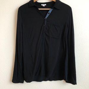 Splendid black long sleeve Henley one pocket top